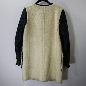 Zara Jackets & Coats - Zara Woman Black/Cream Fleece Zip Up Coat Size S